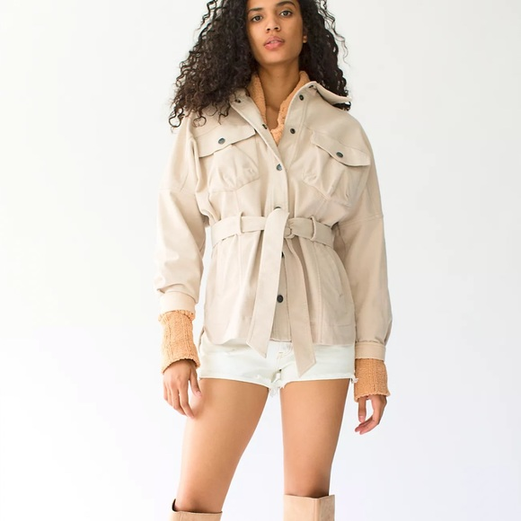 NWT Free People Clyde Shirt Jacket Mineral Powder